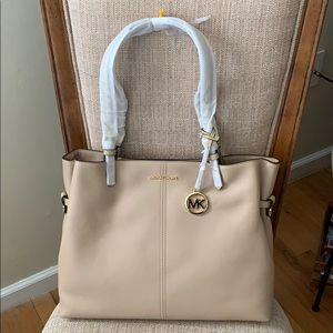 Michael Kors Large Leather Lenox Tote Bisque